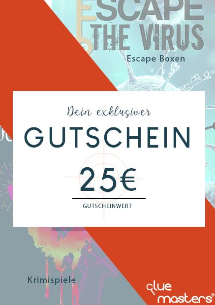 Geschenkgutschein für Cluemasters Krimispiele und Escape Boxen im Wert von 25 €